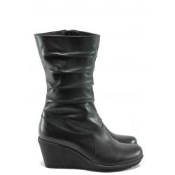 Дамски ботуши от естествена кожа на платформа МИ 1900 черен