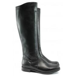 Дамски равни ботуши от естествена кожа БС 34325 черен
