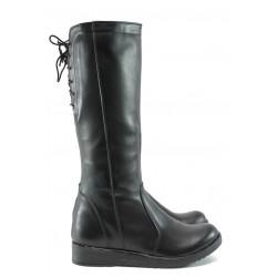 Дамски ботуши от естествена кожа /тип чизма/ НЛ 193-6656 черен