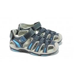 Анатомични детски обувки с лепенка МА 34255 син