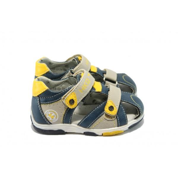 Анатомични бебешки обувки с лепенка МА 34100 син