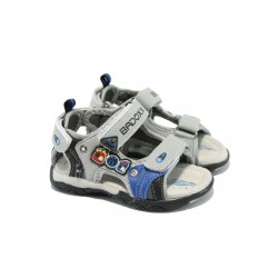 Анатомични бебешки сандали с лепенки МА 193 сив-черен