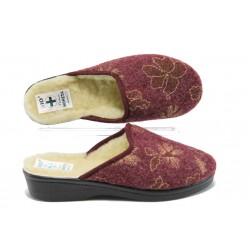 Дамски анатомични домашни чехли с естествена вълна МА 18349 бордо