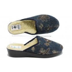 Анатомични дамски домашни чехли с естествена вълна МА 18504 син | Домашни чехли |MES.BG