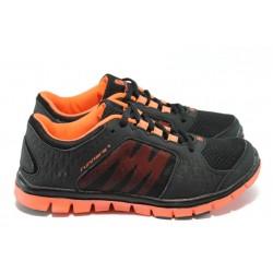 Юношески маратонки с класическо ходило Runners 81572 черен-оранж