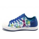 Дамски спортни обувки на цветя Bulldozer 6292 бял-син