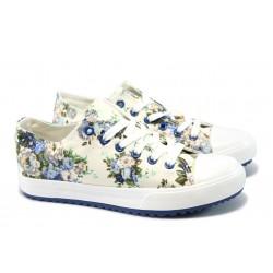 Дамски спортни обувки на цветя Bulldozer 61248 син
