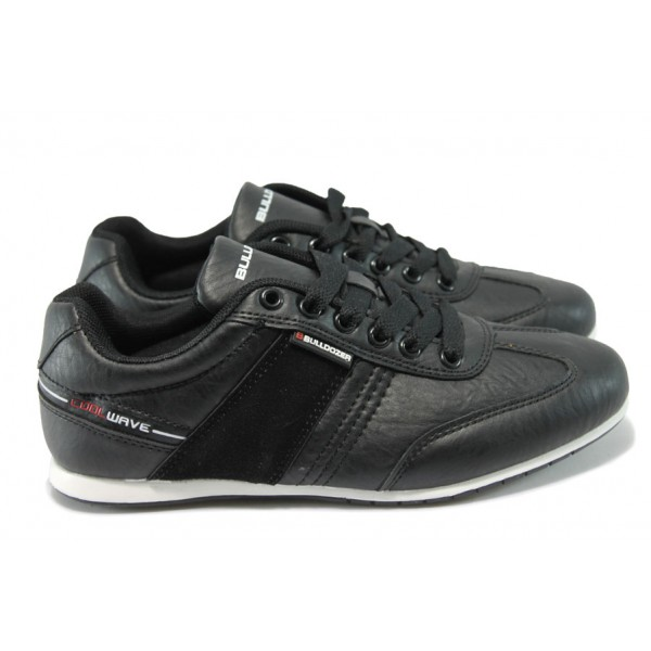 Юношески спортни обувки от естествен верур Bulldozer 6114 черен