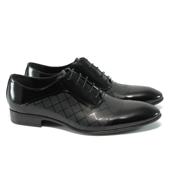 Анатомични мъжки обувки от естествена кожа ФН 515 черен лак