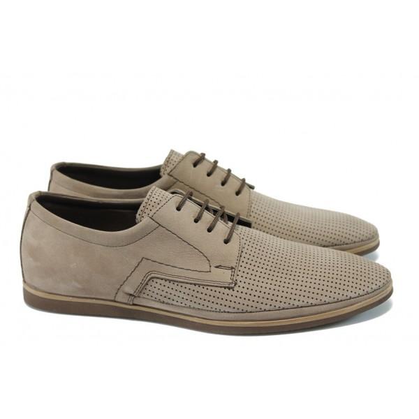 Мъжки спортно-елегантни обувки ФЯ 027 т.бежов