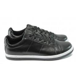 Мъжки спортни обувки от естествена кожа СБ 103 черен