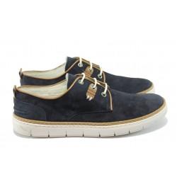 Анатомични мъжки обувки от естествен набук КП 9228 т.син