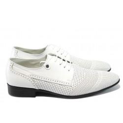 Мъжки спортно-елегантни обувки от естествена кожа ЛД 644 бели