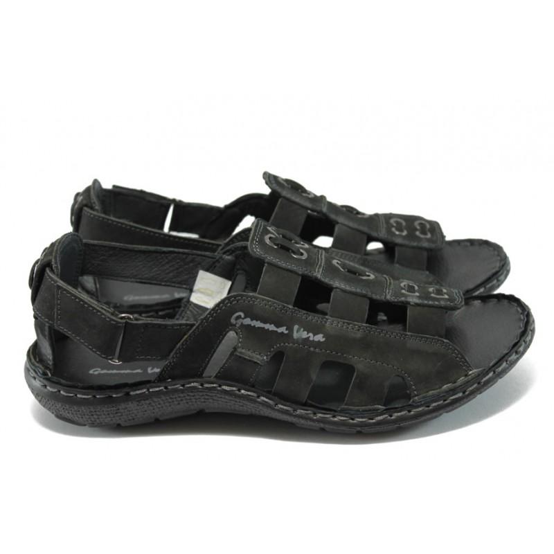 6a0526fd128 Мъжки анатомични сандали естествена кожа МЙ 71166 черен