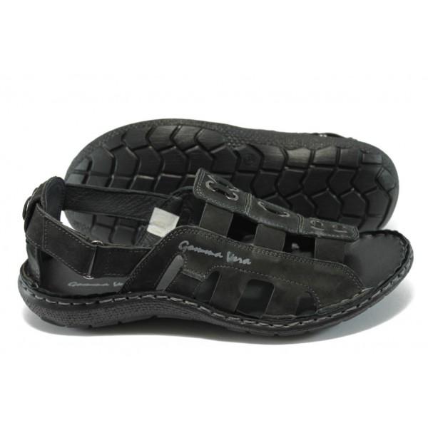 Мъжки анатомични сандали естествена кожа МЙ 71166 черен