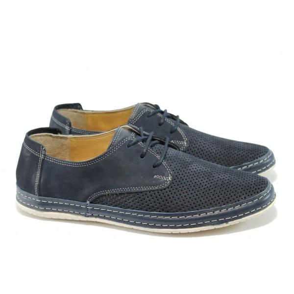 Анатомични мъжки обувки от естествена кожа МИ 37 син