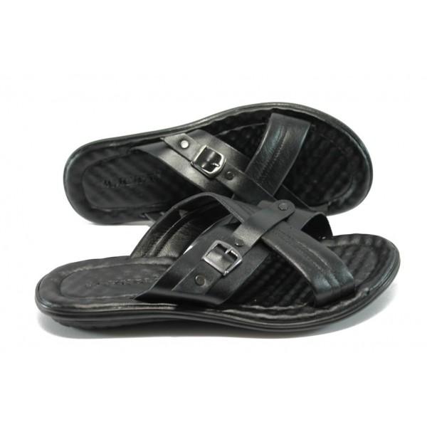 Мъжки анатомични чехли от естествена кожа МИ 10 черен