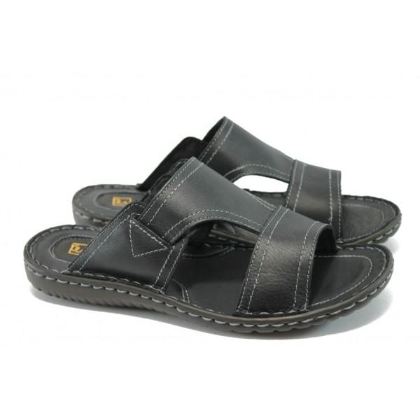 Мъжки анатомични чехли от естествена кожа ГР 3843 черен