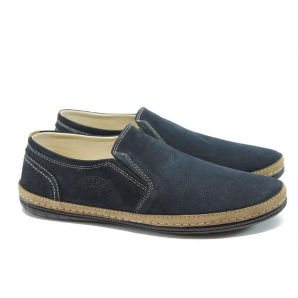 Мъжки анатомични обувки от естествен набук ПИ 727 син