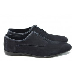 Мъжки спортно-елегантни обувки от естествен набук КО 146-493 син