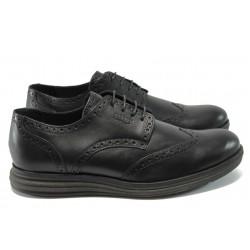 Мъжки анатомични обувки от естествена кожа КП 8831 черен