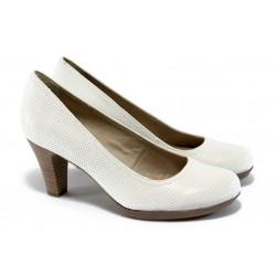 Немски обувки на ток естествена кожа Tamaris 1-22410-24 бели ANTISHOKK
