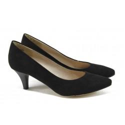 Класически велурени дамски обувки на ток Tamaris 1-22415-24 черен