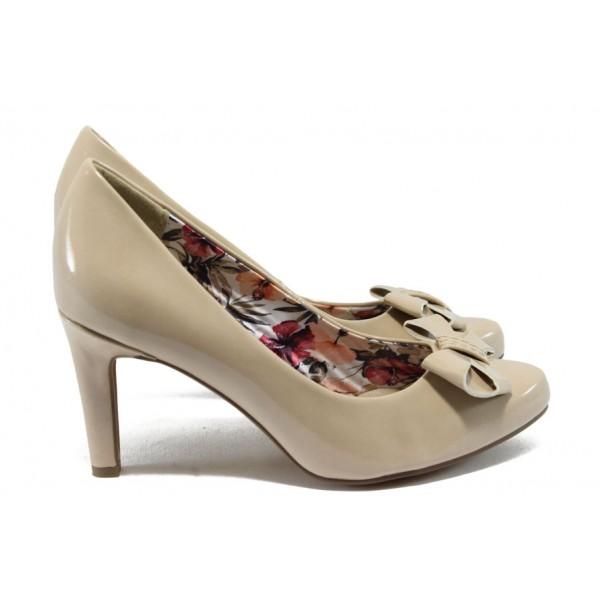 Елегантни дамски обувки на висок ток Marco Tozzi 2-22404-24 бежов