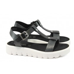 Дамски равни сандали от естествена кожа S.Oliver 5-28107-24 черен
