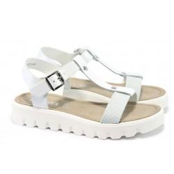 Дамски равни сандали от естествена кожа S.Oliver 5-28107-24 бели