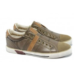 Мъжки спортни обувки от естествена кожа S.Oliver 5-14600-24 кафяв