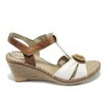 Анатомични дамски сандали на платформа Remonte D6752-80 бял