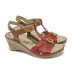 Анатомични дамски сандали на платформа Remonte D6752-80 червен