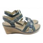 Анатомични дамски сандали на платформа Remonte D6766-14 син