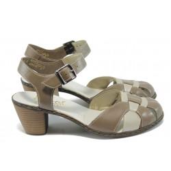 Дамски обувки с отворена пета Rieker 40968-80 т.бежов