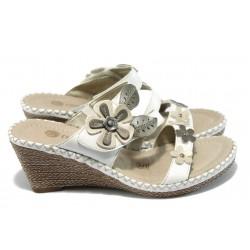 Анатомични дамски чехли на платформа Remonte D6745-80 бели
