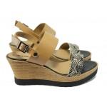 Дамски сандали на платформа Tamaris 1-28370-24 бежов