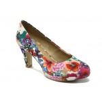 """Дамски обувки на висок ток с """"мемори"""" пяна S.Oliver 5-22409-24 цветя"""