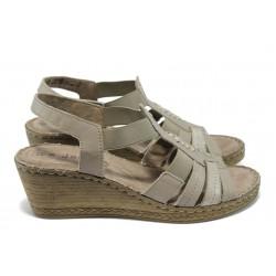 Дамски сандали на платформа от естествена кожа Jana 8-28309-24 таупе