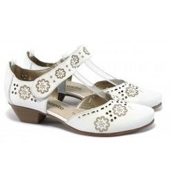 Дамски обувки на ток от естествена кожа Remonte R7105-80 бели