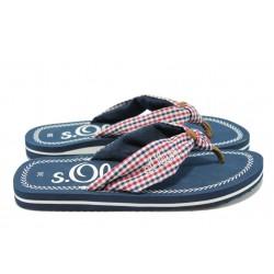 Дамски равни чехли с каишка между пръстите S.Oliver 5-27108-24 син-чв