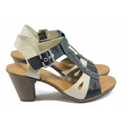 Дамски сандали на висок ток Rieker 64169-14 син