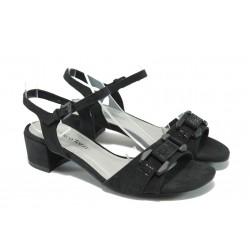 Дамски велурени сандали на среден ток Marco Tozzi 2-28203-24 черен