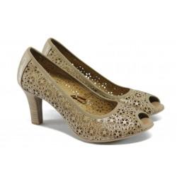Дамски обувки от естествена кожа Caprice 9-29300-24 бежов