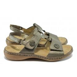 Дамски сандали от естествена кожа Rieker 65974-90 бакър