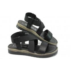 Дамски равни сандали от естествена кожа Marco Tozzi 2-28619-34 черен