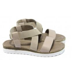 Дамски равни сандали от естествена кожа Marco Tozzi 2-28619-34 бежов