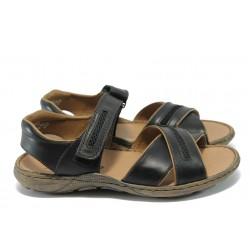 Мъжки сандали от естествена кожа Rieker 22053-00 черен ANTISTRESS