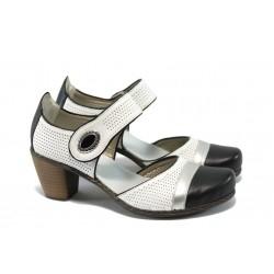 Дамски обувки от естествена кожа Rieker 40970-01 бели ANTISTRESS