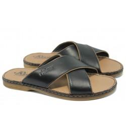 Мъжки чехли от естествена кожа Rieker 25298-00 черен ANTISTRESS